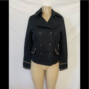 Zara Size M Black Cropped Peacoat With Gold Trim